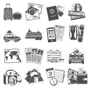 Vacation travel icons set black Stock Illustration