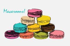 Stock Illustration of Sweet Tasty Drawn Macaroons Isolated on White Background
