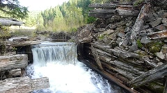 Cascade from an old abandoned river damn 72c Stock Footage