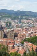 Aerial views of city center Bilbao, Bizkaia, Basque country, Spain. - stock photo