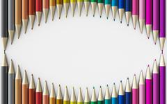 Colour pencils isolated on white background close up - stock illustration