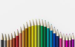 Colour pencils isolated on white background close up Stock Illustration