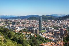 Panoramic views of Bilbao city, Bizkaia, Basque Country, Spain. Stock Photos