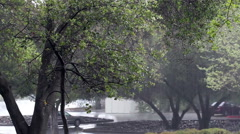 Down Pour Of Rain Through Trees Parking Lot Stock Footage