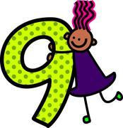 Stock Illustration of Number Nine Girl