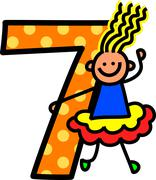 Number Seven Girl - stock illustration