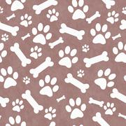 Brown and White Dog Paw Prints and Bones Tile Pattern Repeat Background - stock illustration