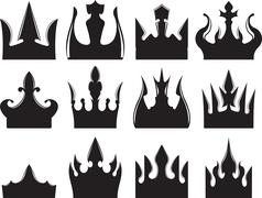 Set of six vector crowns icons for your design. Stock Illustration
