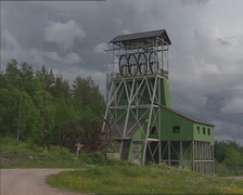 Headframe of a mine shaft on ore mountain  MALMBERGET, SWEDEN Stock Footage