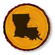 Stock Illustration of Louisiana Map On Timber