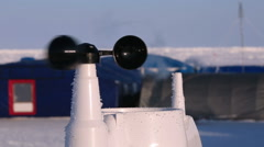 Stock Video Footage of The anemometer measures wind speed in the Arctic polar station.