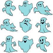 Stock Illustration of Set of nine blue flying ghosts