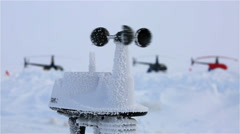The anemometer measures wind speed in the Arctic polar station. - stock footage