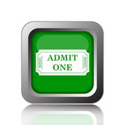 Admin one ticket icon. Internet button on black background.. - stock illustration