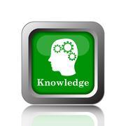 Knowledge icon. Internet button on black background.. - stock illustration