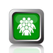 Stock Illustration of Group of people icon. Internet button on black background..