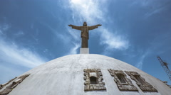 Stock Video Footage of Jesus Statue Sky Timelapse Puerto Plata