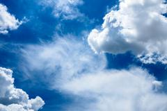 Beautiful rainclouds in the blue sky at Chiangmai city, Northern Thailand. Stock Photos