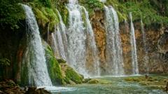 Waterfall in Plitvice National Park, Croatia Stock Footage