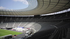 Olympic Stadium empty bleachers, Berlin, Germany Stock Footage