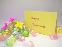 Massage Card; Happy Anniversary - stock photo