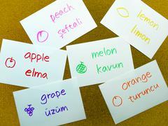 Language Flash Cards; Turkish Stock Photos