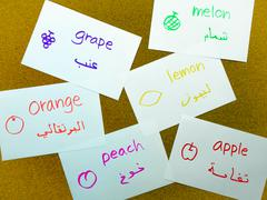Language Flash Cards; Arabic Stock Photos