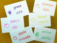 Language Flash Cards; Thai - stock photo
