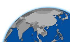 southeast Asia on globe political map - stock illustration