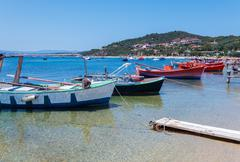 Boats near Ouranopolis, Mount Athos Stock Photos