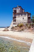Phospfori tower in Ouranopolis, Mount Athos Stock Photos