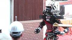 DARPA Robotics Challenge Team WPI-CMU Warner Atlas Robot Folding Arm Stock Footage