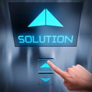 Solution business elevator - stock illustration