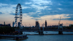 Day to night Time Lapse of the London Eye and Big Ben at sunset, Hyper Lapse - stock footage