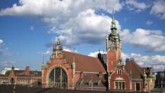 Hyper lapse Gdansk railway station Stock Footage
