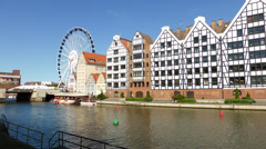 Hyper lapse Gdansk Old Town Buildings and Motlawa River Stock Footage