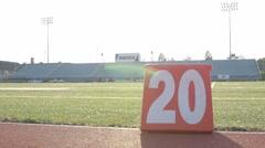 20 yard marker on football sideline Stock Footage