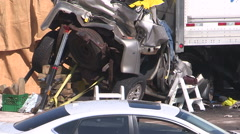 Deadly truck and SUV crash on highway in Ajax Ontario Canada - stock footage
