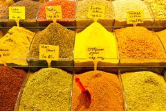 Spices from Spice Bazaar, Istanbul Stock Photos