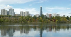 Edmonton skyline and river valley in fall Stock Footage