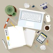 top view of modern workplace - stock illustration
