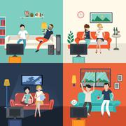 friends watching TV program in the living room - stock illustration