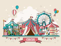 circus facilities scenery - stock illustration