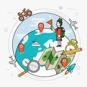 Travel around the world concept Stock Illustration