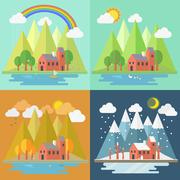 lovely house scenery four seasons - stock illustration