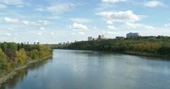 North Saskatchewan River flows through Edmonton's river valley Stock Footage