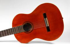classical acoustic guitar close up - stock photo