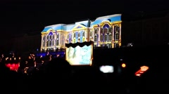 3D projection mapping on Peterhof palace at fountains show Stock Footage