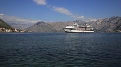 Stock Video Footage of Large cruise ship Celebrity Constellation in Boka Kotorska Bay. Montenegro