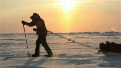 Members of polar expedition go skiing to the North Pole. - stock footage